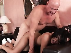 Young Asian and the old man have hardcore sex