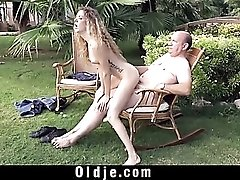Young cunt filled with hard old dick outdoors