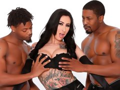 Black friends are penetrating a slutty white girlfriend Lily Lane
