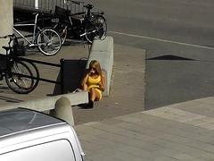 Striking amateur blonde teen with hot legs upskirt outside