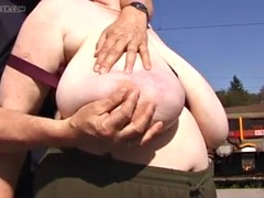 bbw saggy breasts fondled outside