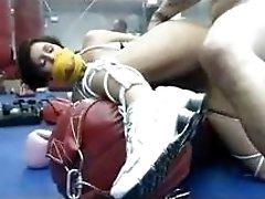 Big boobs MILF bondage riding in the gym BDSM porn