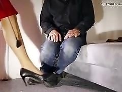 Femdom mistress cock teases sub slave with her feet BDSM