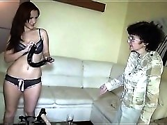 Young chick in sexy panties strapon fucks grandma