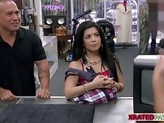 Latina woman with big tits gets fucked by the pawnshop owner