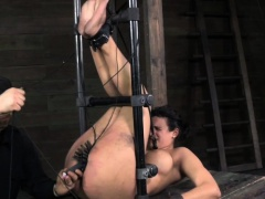 Pussy clamped bitch gets anally hooked by maledom