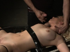 Restrained slave pussyfucked from behind