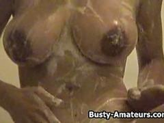 Busty amateur babe Gia getting naughty on the shower