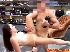 Pawnshop brunette gets a mouthful