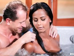 Sweet and lustful Latina Isabella Chrystin drilled in the small pool