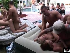 Horny guys bang hot girls at the party