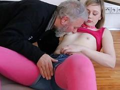 Young playgirl sucks old rod and gets pussy licked