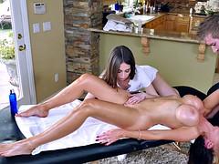 nikki benz sucks her masseuse's rod as his assistant riley reid licks nikki's cunt
