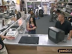 Cuban hottie sells her obsolete TV and screwed by pawn dude