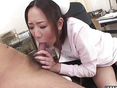 Asian nurse banged from the back with viciousness