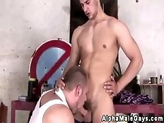 Muscled straight hunks giving head