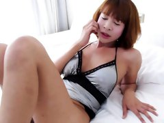 Hot thai ladyboy Ya teasing and jerking off her big dick