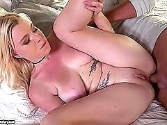 Curvy young beauty gives him her asshole