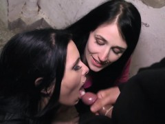 Horny sluts jerking off guys in a dark alley