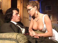 Incredibly sexy 80s girl in hot black vintage stockings loves classic double penetration