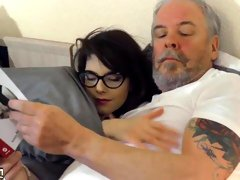 Teen babe with glasses fucked hardcore by grandpa