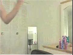 Teen amateur girl masturbating in bed on webcam show