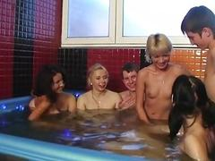 Incredible college fuck party in sauna