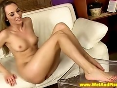 Pissing fetish babe drinking her pee