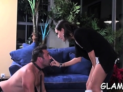 Gorgeous bitch goddess spanks her villein