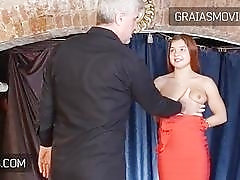 Young redhead with small titties gets slapped by he master