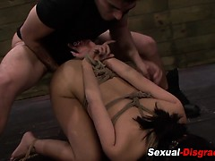 Submissive throat fucked