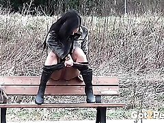 Cute girl on a stroll stops for a public piss