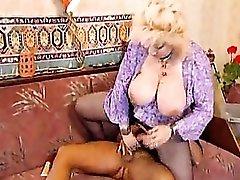 Girl in black pantyhose taken in her fat cunt