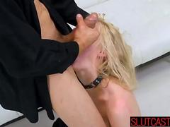 Blonde sex slave drilled rough doggystyle during bdsm casting session