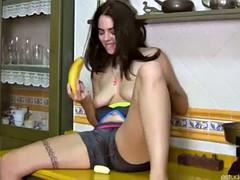 masturbacion con banana