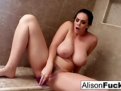 Alison paws herself to completion in a gigantic super-fucking-hot bathroom