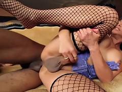 stockinged latina tgirl sucks before anal