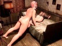 Voluptuous 3D babes indulge in passionate futanari fucking