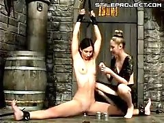 Water Bondage Fun - Girl Sits On Dildo & Nipple Buckets Are Water Filled