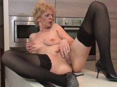 Blonde mature housewife is so horny she