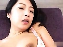 Busty Oriental beauty satisfies her lust for cock and jizz
