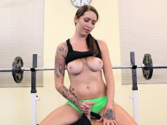 Super sexy hot tattooed personal trainer babe Callie takes