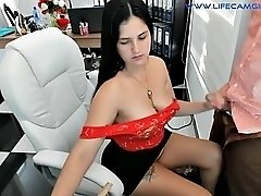 wife with big tits measures her husband's cock with a ruler and gives him a blowjob