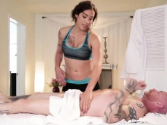 Hot brunette ts Tori Mayes gives hunk a hot massage