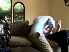 Cheating Blonde Eaten Out On Hidden Camera In Livingroom