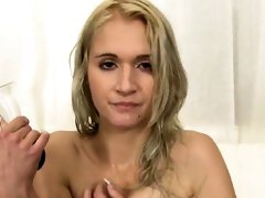 Breathtaking nympho is pissing and fingering shaved vagina