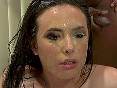 Teenager ends up soaked in sperm after her first gangbang XXX