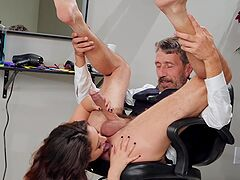 Full anal for the clothed babe after she gives proper head