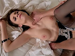 Beautiful cock sucking babe receives a big cock