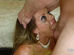Big tits slut face fucked while waiting for a facial